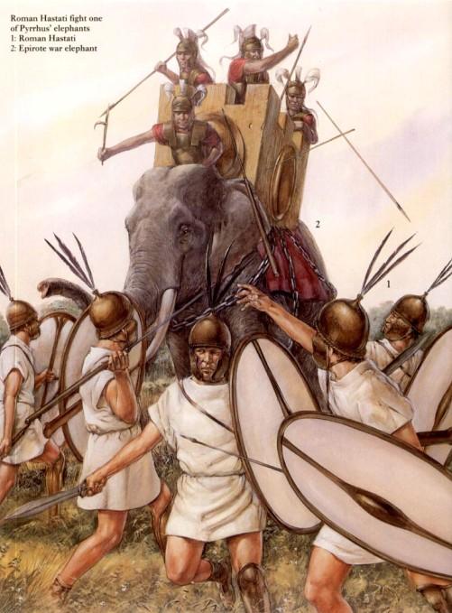 Римские гастаты атакуют боевых слонов