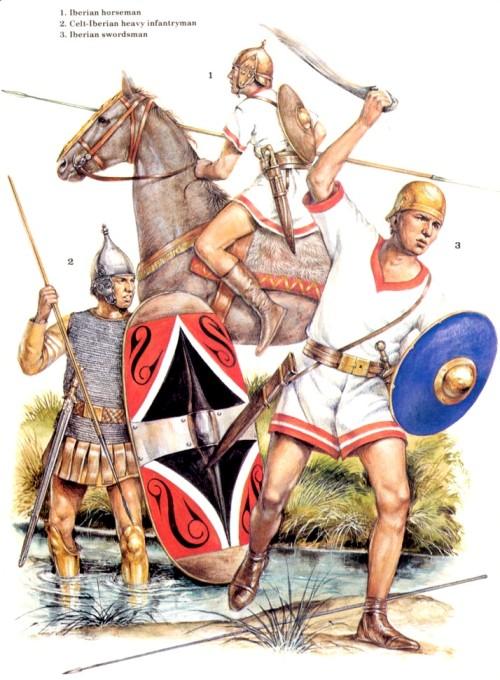 1 - иберийский всадник; 2 - кельтиберский тяжелый пехотинец; 3 - иберийский мечник
