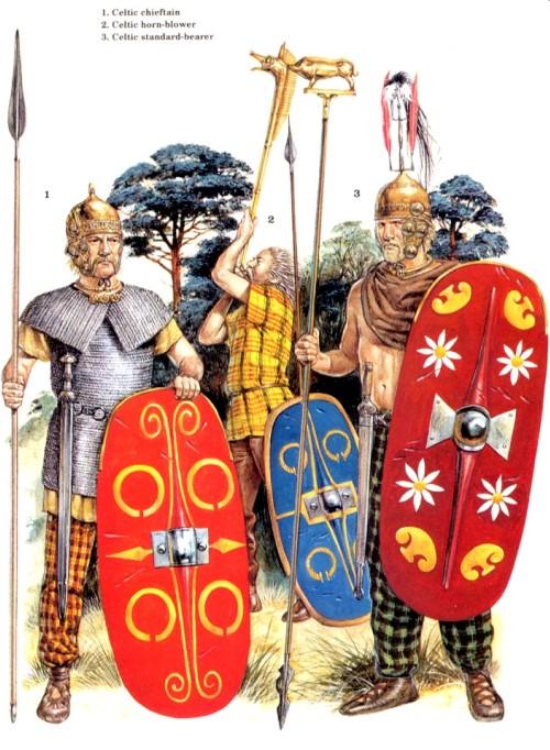 1 - кельтский вождь; 2 - кельтский трубач; 3 - кельтский штандартоносец