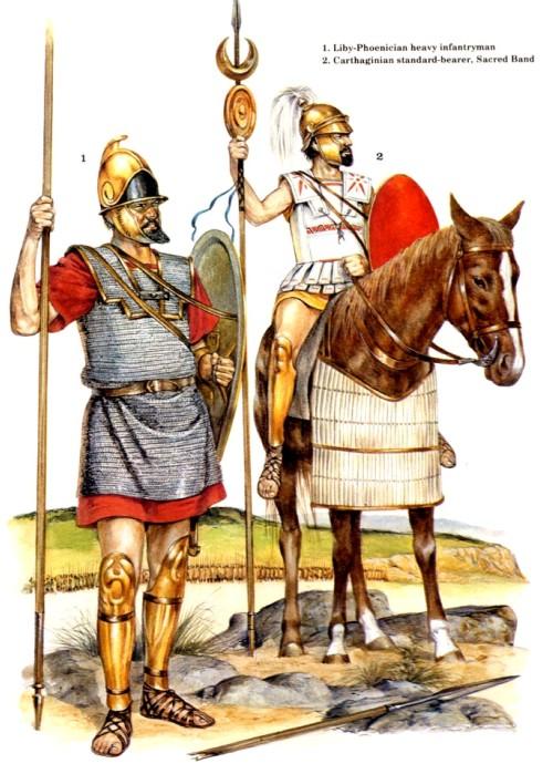 1 - ливо-финикийский тяжелый пехотинец; 2 - карфагенский штандартоносец Священного Отряда