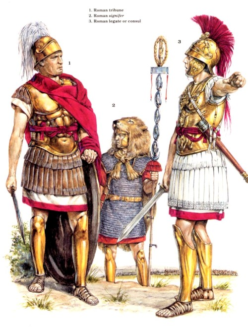 1 - римский трибун; 2 - римский сигнифер; 3 - римский легат или консул