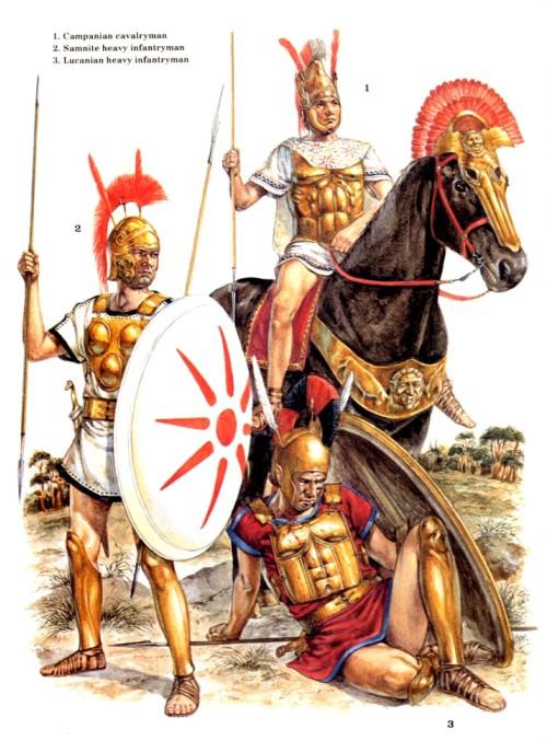 1 - кампаньский всадник; 2 - самнитский тяжелый пехотинец; 3 - луканский тяжелый пехотинец