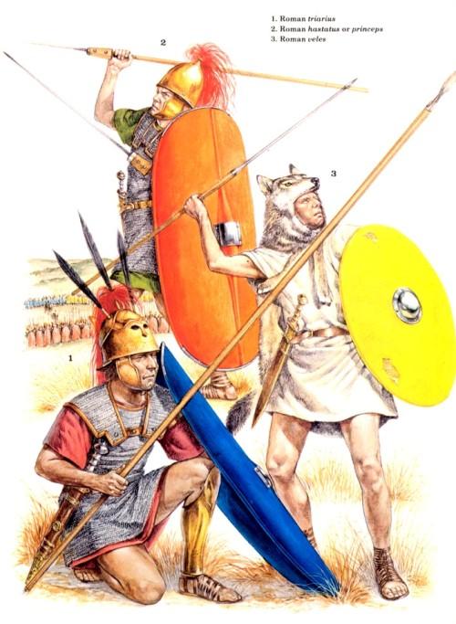 1 - римский триарий; 2 - римский гастат или принцип; 3 - римский велит