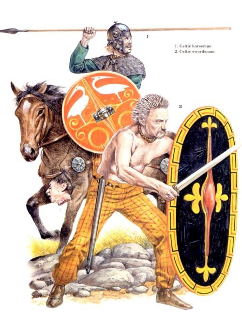 1 - кельтский всадник; 2 - кельтский мечник