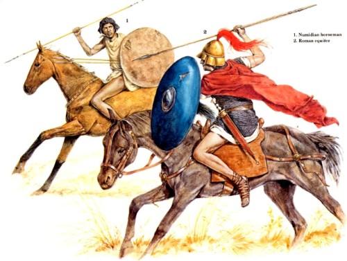 1 - нумидийский всадник; 2 - римский эквит
