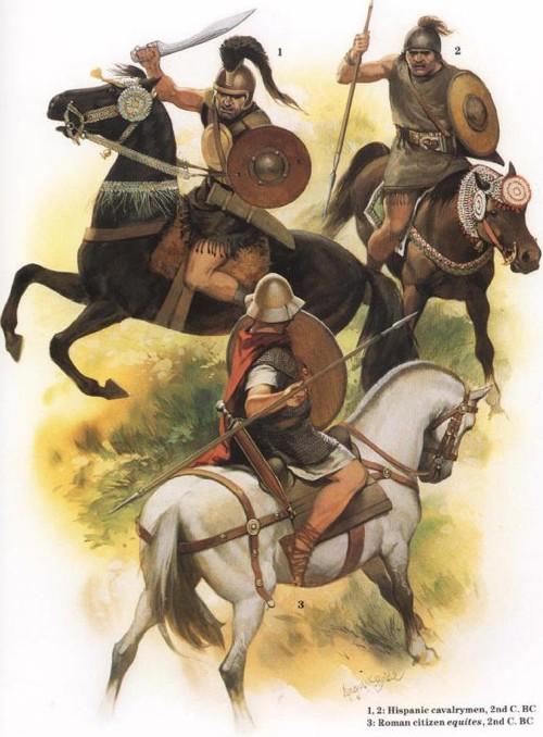 1, 2 - испанские всадники (II в. до н.э.); 3 - римский всадник-эквит (II в. до н.э.)