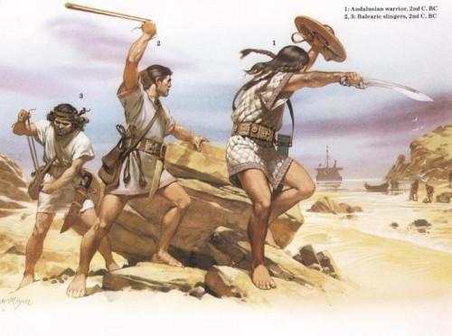 1 - андалузский воин (II в. до н.э.); 2, 3 - балеарские пращники (II в. до н.э.)