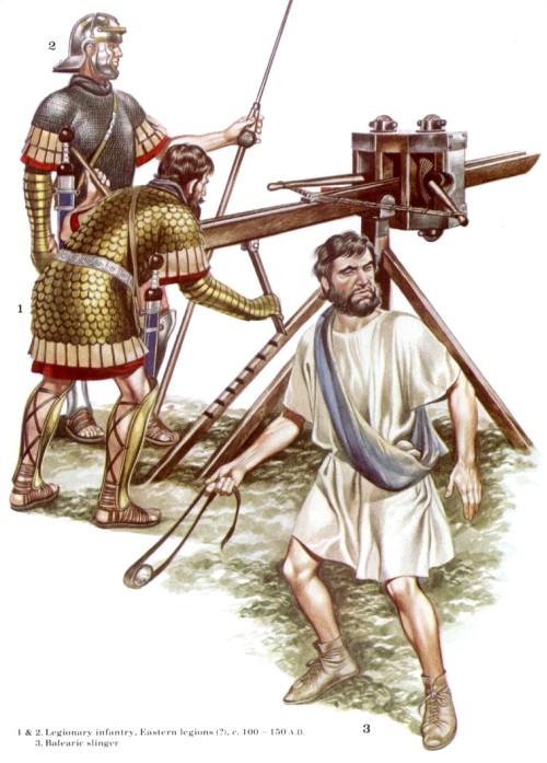 1, 2 - легионные пехотинцы, восточные легионы (100-150 гг. н.э.); 3 - балеарский пращник