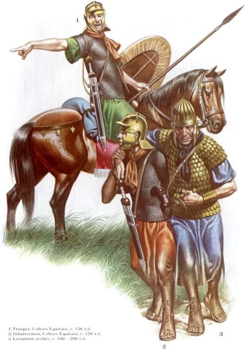 1 - кавалерист, когорта Equitata (150 г. н.э.); пехотинец, когорта Equitata (150 г. н.э.); 3 - левантский лучник (100-200 гг. н.э.)