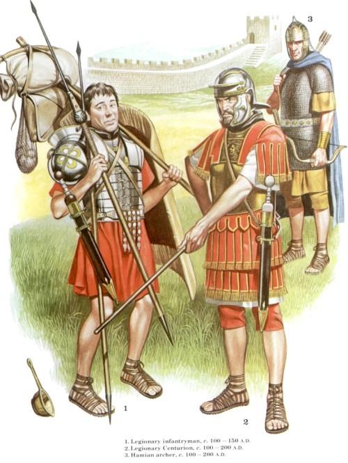 1 - пеший легионер (100-150 гг. н.э.); 2 - центурион (100-200 гг. н.э.); 3 - хамианский лучник (100-200 гг. н.э.)