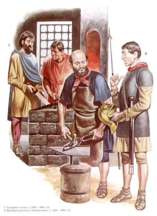 1 - иррегулярный скаут (200-300 гг. н.э.); 2 - рецийский вспомагательный пехотинец (200-300 гг. н.э.)