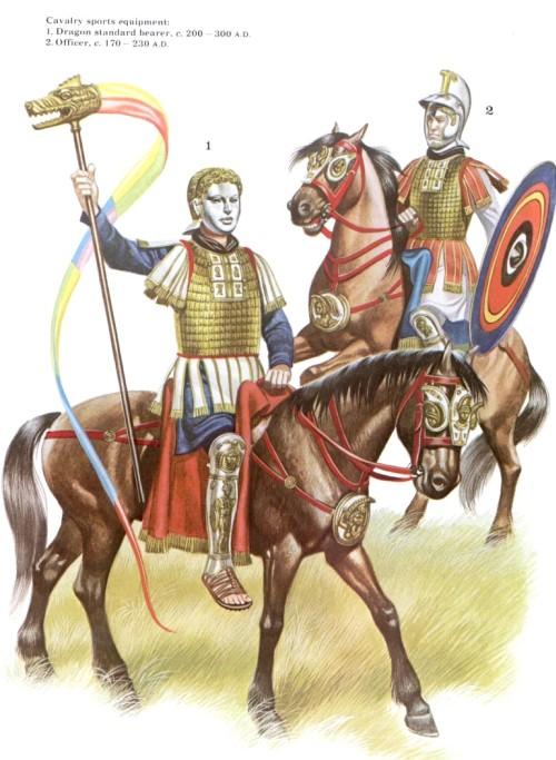 Кавалерийское спортивное снаряжение: 1 - штандартоносец (200-300 гг. н.э.); 2 - офицер (170-230 гг. н.э.)