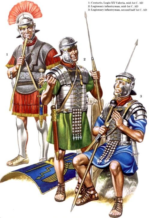 1 - центурион, XX легион Valeria (середина I в. н.э.); 2 - пеший легионер (середина I в. н.э.); 3 - пеший легионер (вторая половина I в. н.э.)