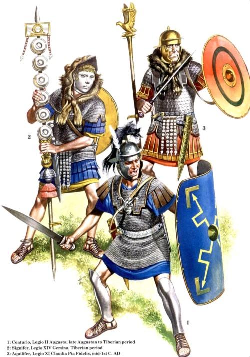 1 - центурион, II легион Augusta (период правления Августа -Тиберия); 2 - сигнифер, XIV легион Gemina (правление Тиберия); 3 - аквилифер, XI легион Claudia Pia Fidelis (середина I в. н.э.)