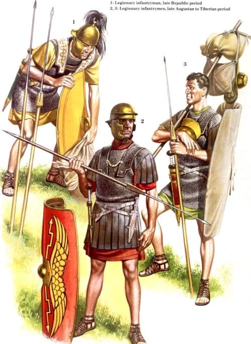 1 - пеший легионер (период поздней республики); 2, 3 - пешие легионеры (период правления Августа -Тиберия)