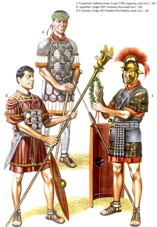 1 - пеший легионер, VIII легион Augusta (середина I в. н.э.); 2 - аквилифер, XIV легион Gemina (первая половина I в. н.э.); 3 - центурион, XI легион Claudia Pia Fidelis (середина I в. н.э.)
