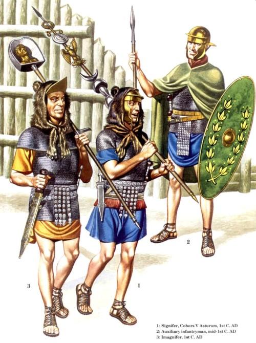 1 - сигнифер, V когорта Asturum (I в. н.э.); вспомагательный пехотинец (середина I в. н.э.); 3 - имагнифер (I в. н.э.)