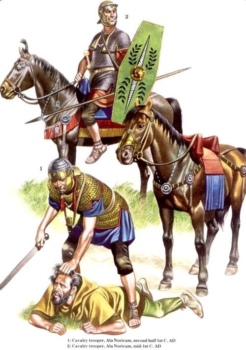 1 - кавалерист, ала Noricum (вторая половина I в. н.э.); 2 - кавалерист, ала Noricum (середина I в. н.э.)
