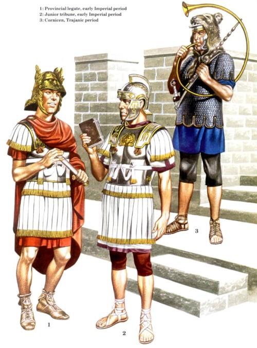 1 - провинциальный легат (ранний имперский период); 2 - младший трибун (ранний имперский период); 3 - трубач-корнифер (правление Траяна)