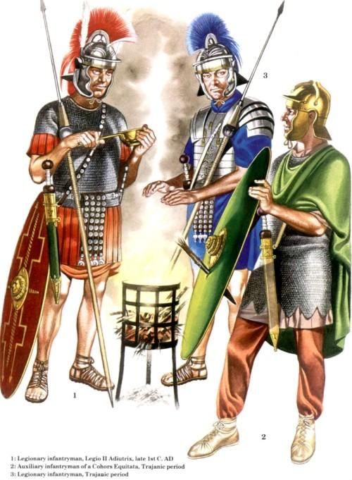 1 - пеший легионер, II легион Adiutrix (конец I в. н.э.); 2 - вспомагательный пехотинец, когорта Equitata (правление Траяна); 3 - пеший легионер (правление Траяна)