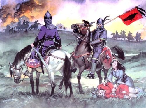 Мадьяры жгут германский форт (Центральная Европа, X в. н.э.)