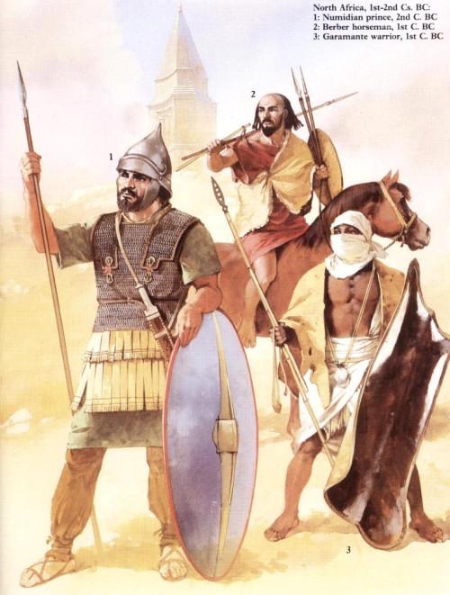 Северная Африка (II-I вв. до н.э.): 1 - нумидийский царевич (II в. до н.э.); 2 - берберский всадник (I в. до н.э.); 3 - воин-гарамант (I в. до н.э.)