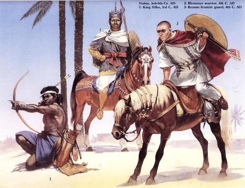 Нубия (III-IV вв. н.э.): 1 - царь Силко (III в. н.э.); 2 - воин блемми (IV в. н.э.); 3 - римский кавалерист пограничной стражи (IV в. н.э.)