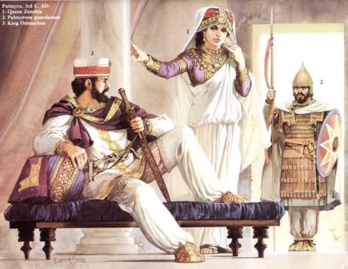 Пальмира и Хатра (II-III вв. н.э.): 1 - арабско-пальмирский воин (III в. н.э.); 2 - хатренский клибанарий (II в. н.э.); 3 - пальмирский солдат (III в. н.э.)