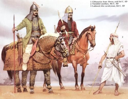 1 - клибанарий из Ахваза (середина III в. н.э.); 2 - танукхидский ополченец (IV в. н.э.); 3 - лакхмидский кавалерист-гвардеец (VI в. н.э.)