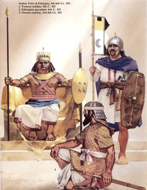 Аравия Феликс и Эфиопия (IV-VI вв. н.э.): 1 - йеменский солдат (V в. н.э.); 2 - эфиопский правитель (VI в. н.э.); 3 - оманский моряк (III-IV вв. н.э.)