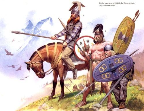 Галльские воины середины Латена (II-III в. до н.э.)