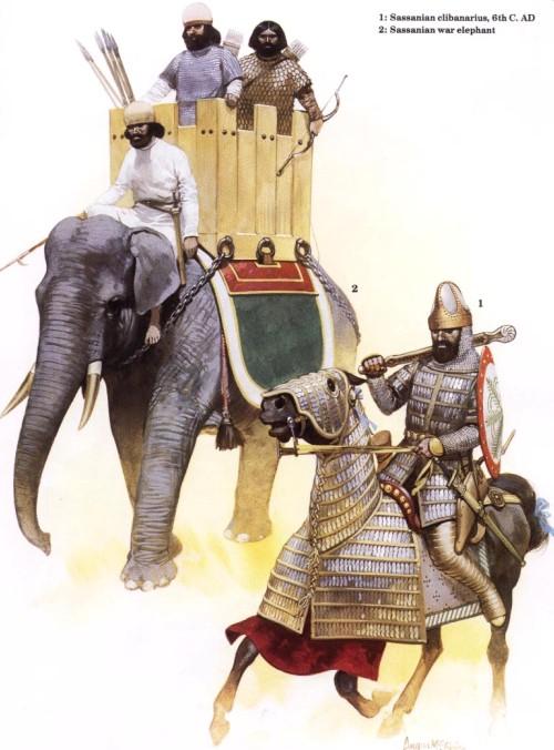 1 - сассанидский клибанарий (VI в. н.э.); 2 - боевой слон Сассанидов