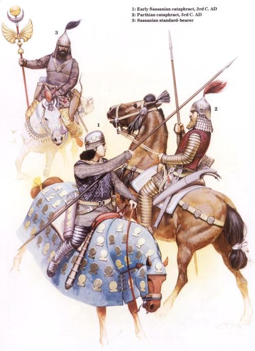 1 - ранний катафракт Сассанидов (III в. н.э.); 2 - парфянский катафракт (III в. н.э.); 3 - сассанидский штандартоносец