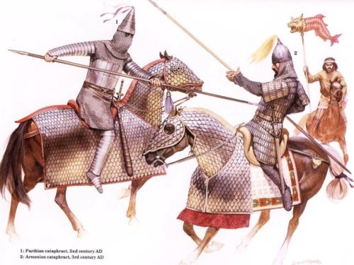 1 - парфянский катафракт (II в. н.э.); 2 - армянский катафракт (III в. н.э.)