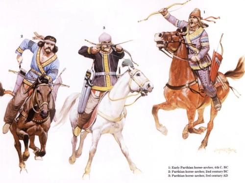 1 - ранний парфянский конный лучник (IV в. до н.э.); 2 - парфянский конный лучник (II в. до н.э.); 3 - парфянский конный лучник (III в. н.э.)