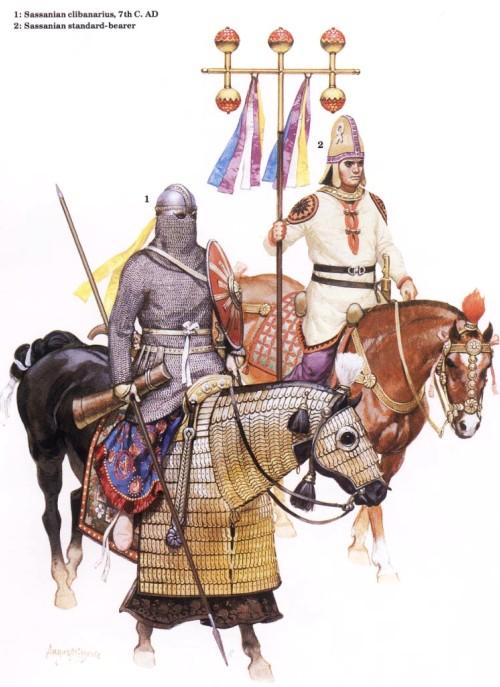 1 - сассанидский клибанарий (VII в. н.э.); 2 - сассанидский штандартоносец