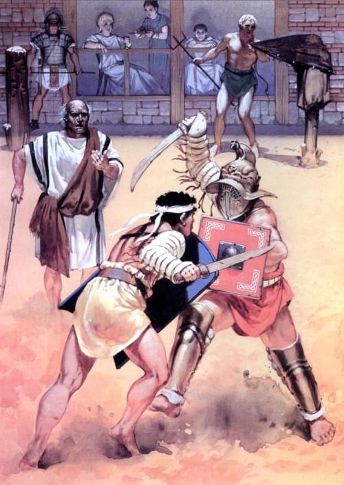 Тренировка в школе гладиаторов (Помпеи, 78 г. н.э.)