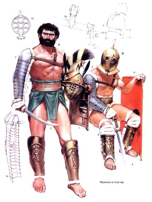 Гладиаторы фракиец (А) и секутор (В)