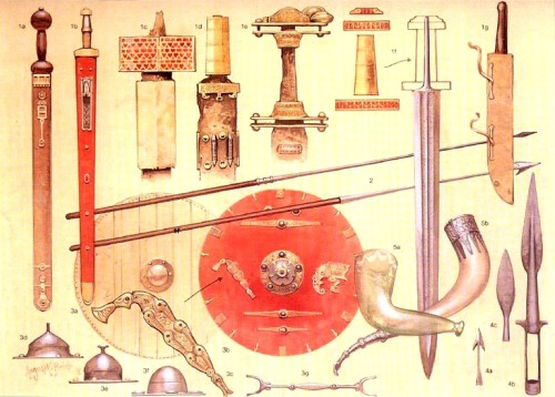"""Германское оружие: 1а - меч из-под Торсберга; 1b - готский меч; 1c-1f - рукояти германских мечей; 1g - """"сакс"""" - боевой нож; 2 - ангоны; 3a-3g - щиты, их умбоны и украшения; 4а - наконечник дротика; 4b, 4c - копейные наконечники; 5a, 5b - боевые рога"""