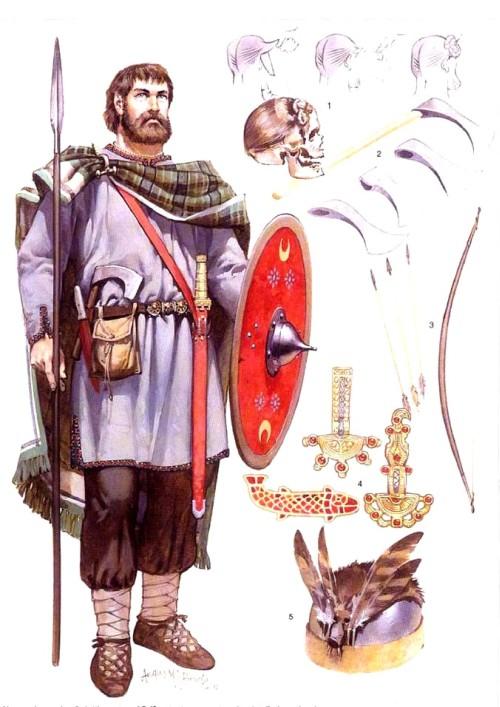 """Алеманнский воин (III-IV в.н.э.): 1 - """"свевский узел"""" - традиционная прическа; 2 - франциска - метательный топор; 3 - германский лук; 4 - застежки и броши; 5 - шлем с перьями"""