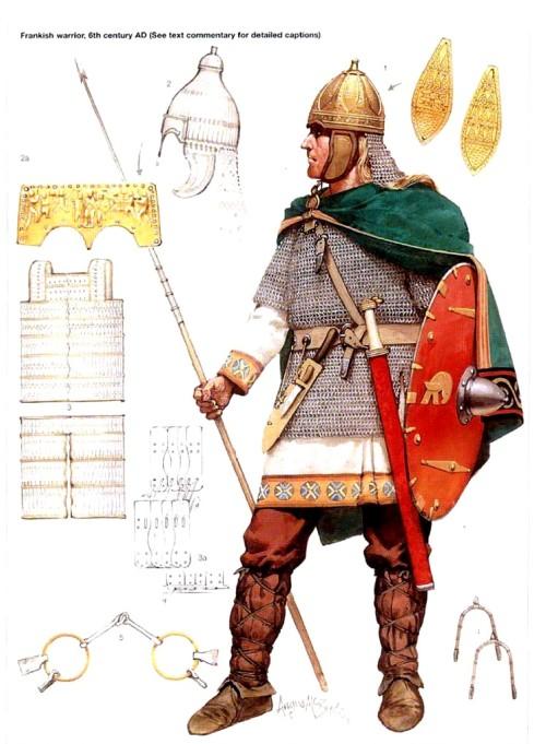 Франкский воин (VI в.н.э.): 1 - детали спангенхельма; 2 - алеманский шлем и его лобная деталь; 3 - ламелярный панцирь; 4 - шпоры; 5 - удила