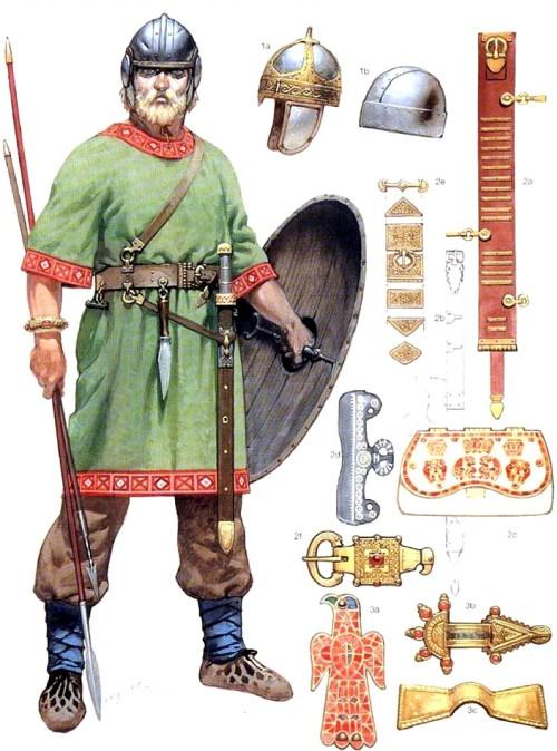 Визиготский воин (V в.н.э.): 1а - спангенхельм; 1b - простой шлем; 2a-2f - пояс, сумка и поясные украшения; 3а-3с - броши и застежки