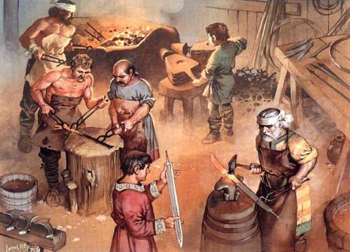 Изготовление оружия (кузница франков, VI в.н.э.)