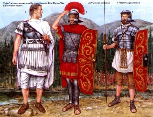 Зимняя кампания Траяна на Нижнем Дунае (первая дакийская война): 1 - трибун преторианской гвардии; 2 - центурион; 3 - преторианский гвардеец