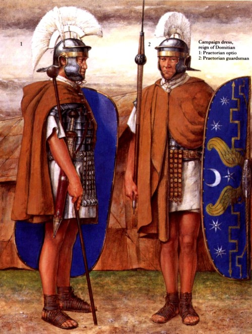 Полевая форма (правление Домициана): 1 - опций преторианской гвардии; 2 - преторианский гвардеец
