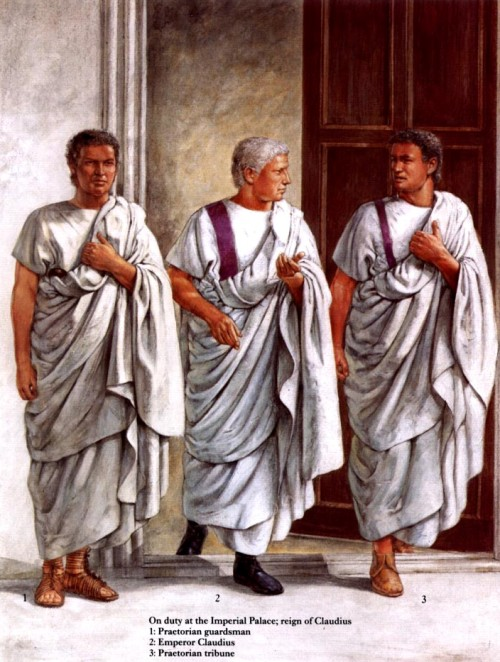 В Императорском дворце (правление Клавдия): 1 - преторианский гвардеец; 2 - Император клавдий; 3 - трибун преторианской гвардии