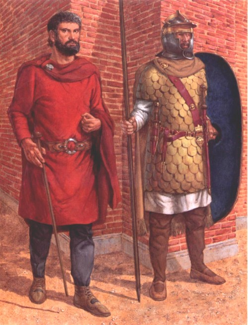 Казармы преторианцев (правление Септимия Севера): 1 - преторианский цетурион; 2 - преторианский гвардеец