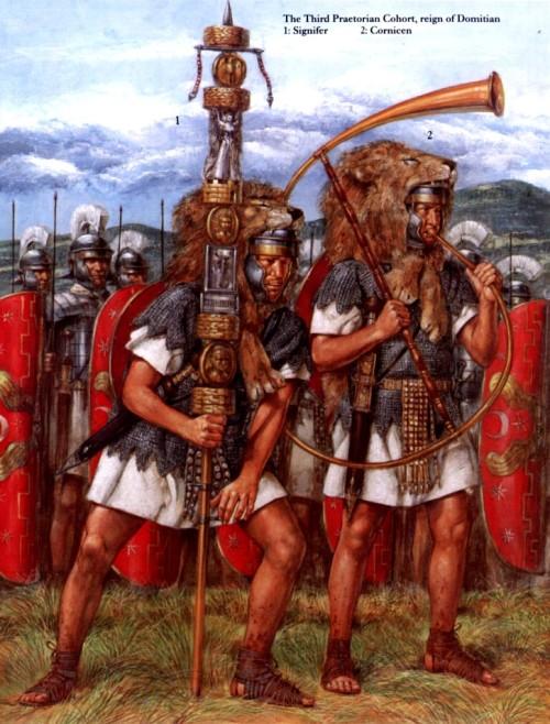 Третья преторианская когорта (правление Домициана): 1 - сигнифер; 2 - корнифер
