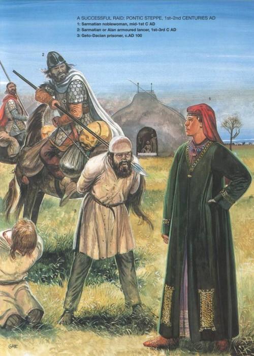 Удачный рейд (Понтийская степь, I-II в. н.э.): 1 - знатная сарматка (середина I в. н.э.); 2 - сарматский или аланский тяжело вооруженный конный копейщик (I-III в. н.э.); 3 - гето-дакийский пленник (100 г. н.э.)