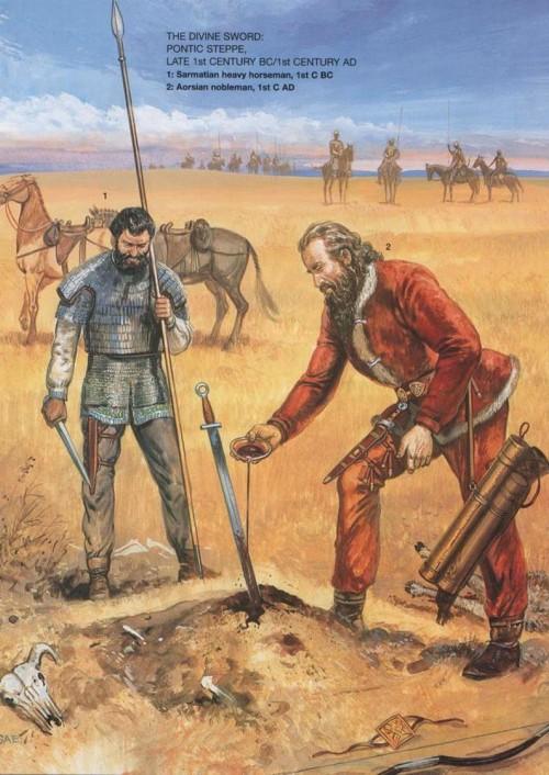 Священный меч (Понтийская степь, конец I в. до н.э. - I в. н.э.): 1 - сарматский тяжелый кавалерист (I в. до н.э.); 2 - аорсский знатный воин (I в. н.э.)